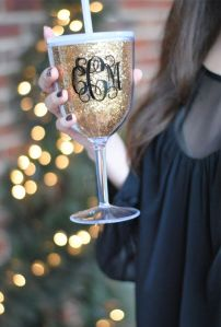 bride slant monogram glass